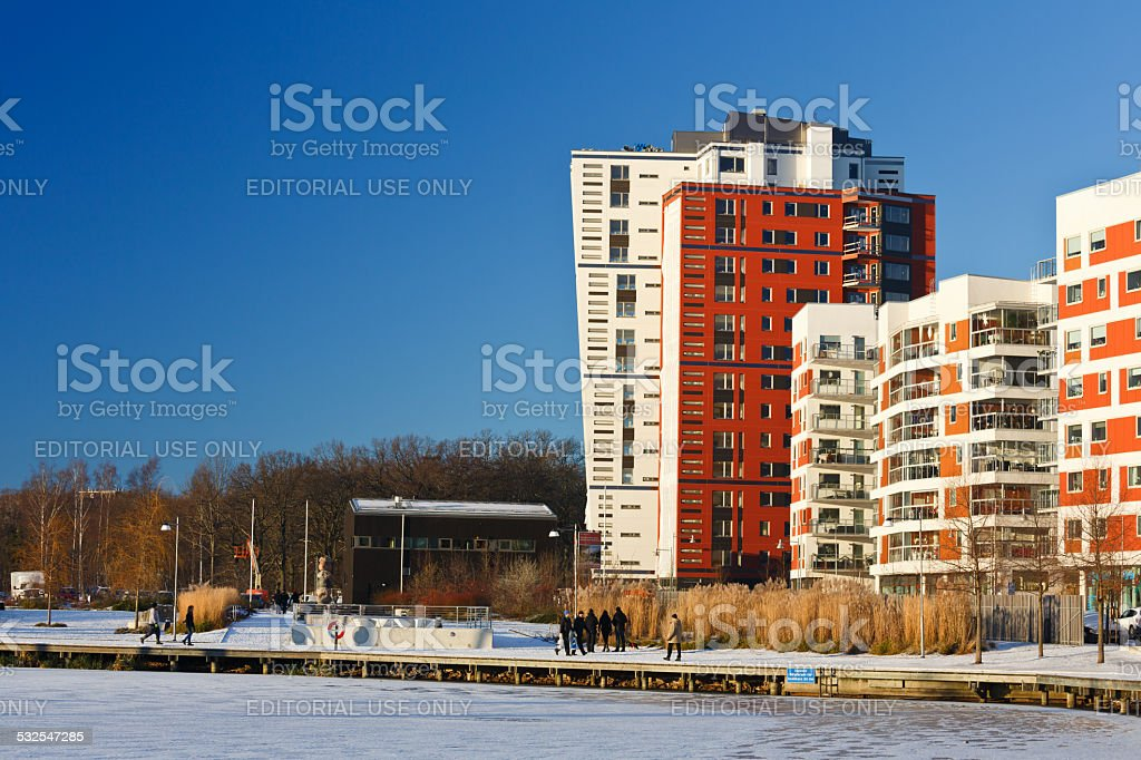 Modern apartment in the city Vasteras, Sweden. stock photo