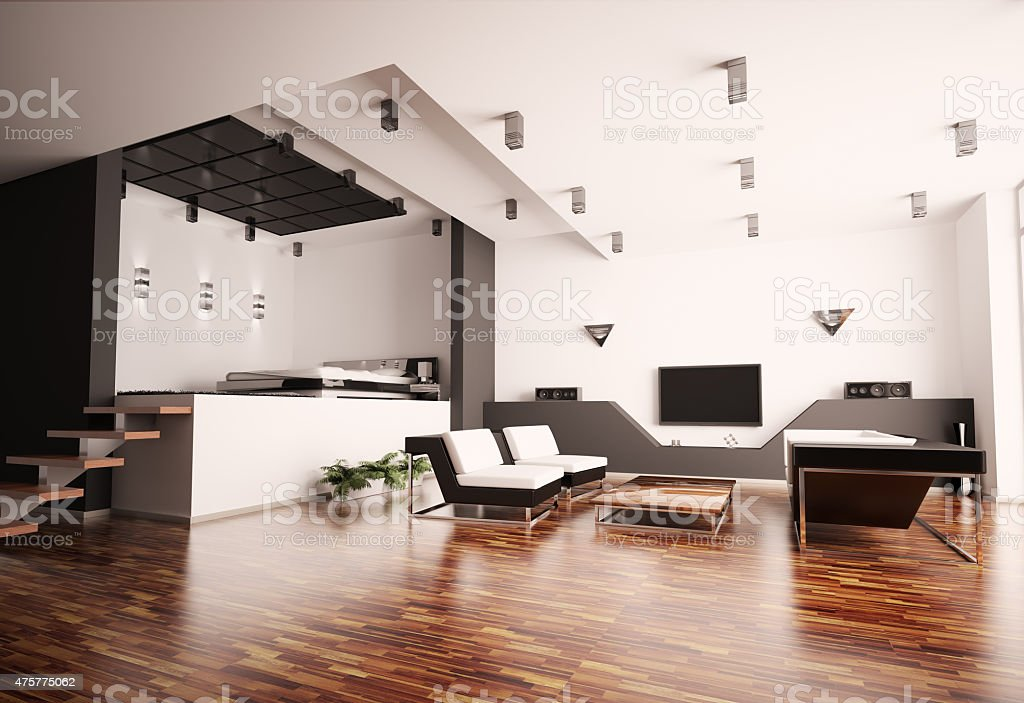 Modern apartment interior 3d stock photo