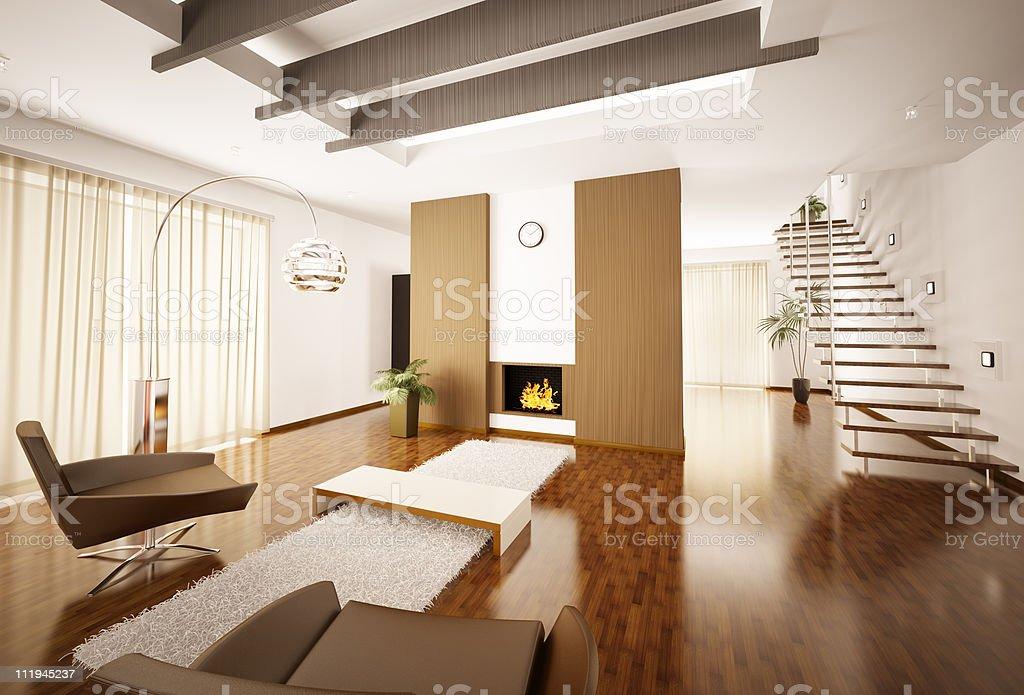 Modern apartment interior 3d render royalty-free stock photo