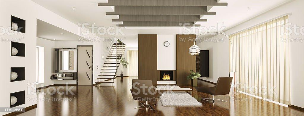 Modern apartment interior panorama 3d render royalty-free stock photo