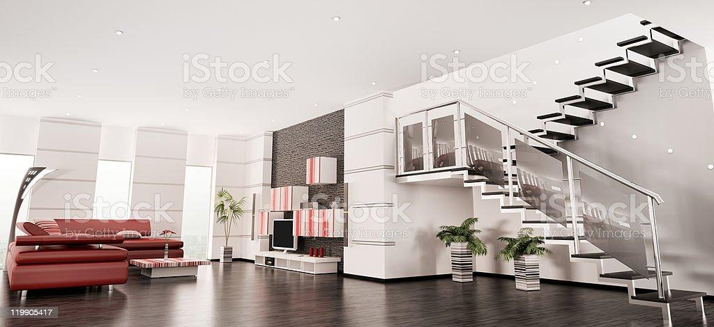Modern apartment interior panorama 3d render stock photo