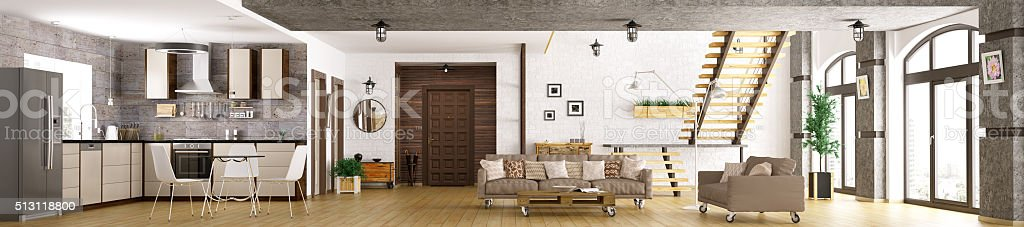 Modern apartment interior panorama 3d render stock photo