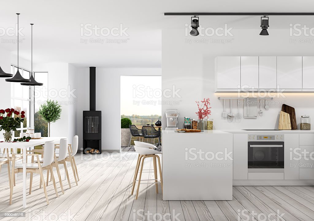 Modern apartment interior stock photo