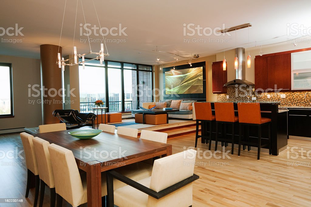 Modern Apartment, Model Home Dining Area, Living Room, Kitchen Interior royalty-free stock photo