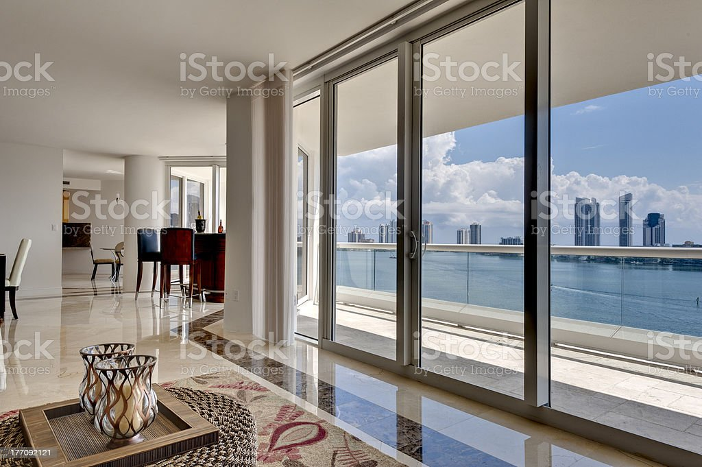 Modern Apartment with Ocean View stock photo