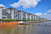 Modern apartments and offices in the Kingston Foreshore residential suburb