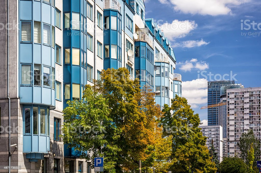 Modern apartments architecture, Warsaw stock photo