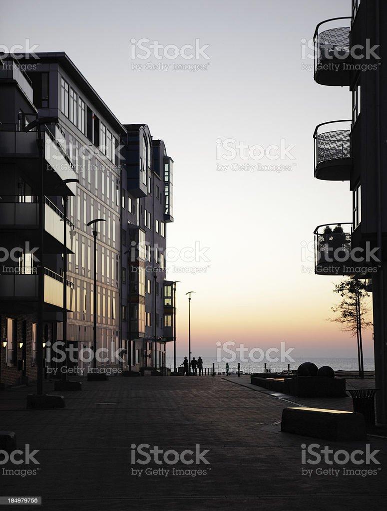 Modern apartments at dusk royalty-free stock photo