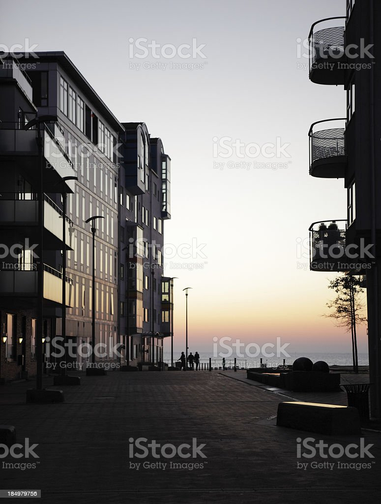 Modern apartments at dusk stock photo