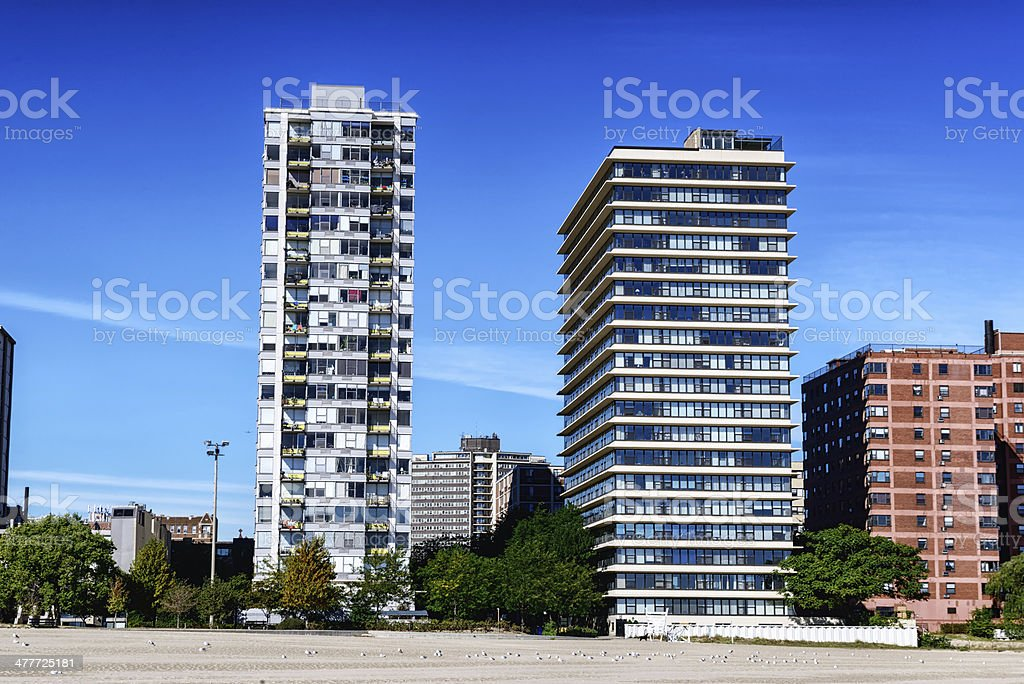 Modern apartments overlooking beach in Chicago royalty-free stock photo