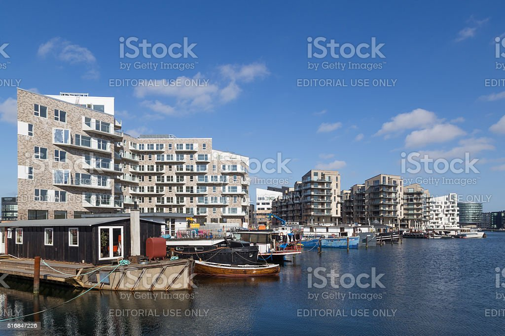 Modern appartments and houseboats in Copenhagen, Denmark stock photo