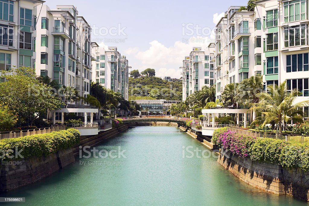 Modern architecture and flats at Keppel Bay stock photo