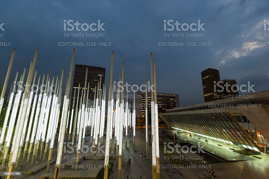 Modern architecture at the Park of Lights in Medellin stock photo
