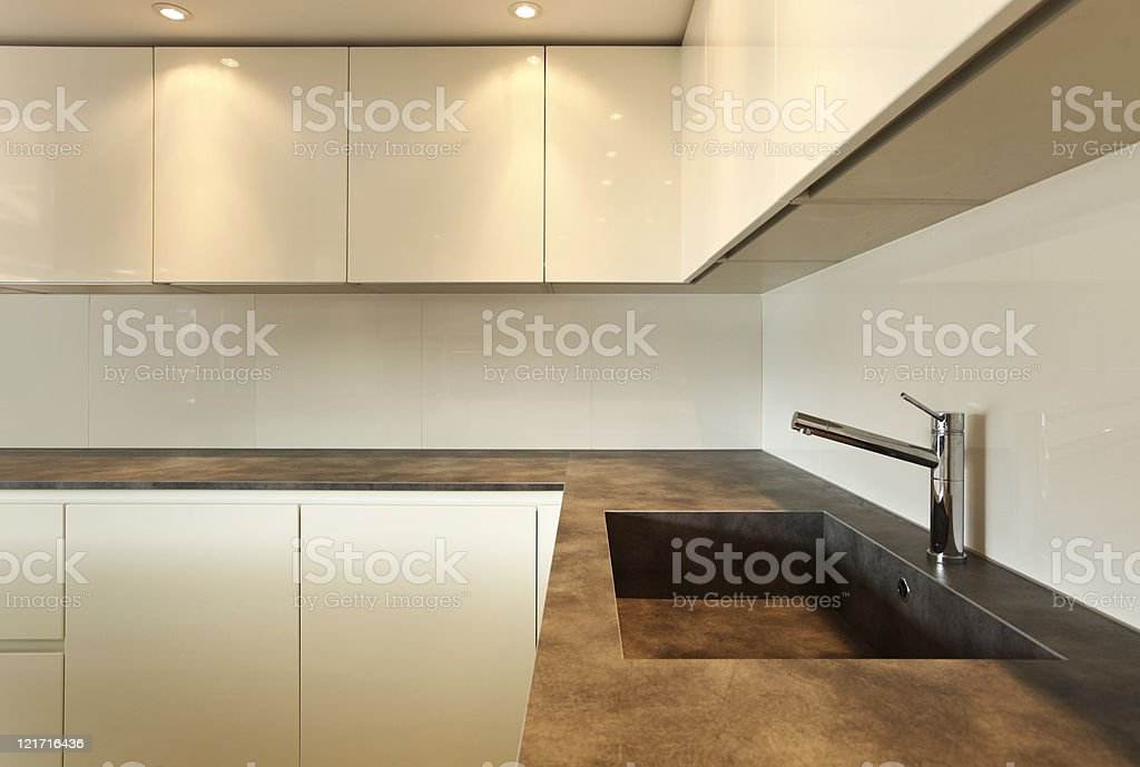modern architecture contemporary, interior, kitchen view royalty-free stock photo