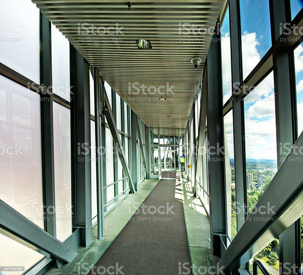 Modern Architecture Corridor, Diminishing Perspective. Extreme Wide Angle, 3XL stock photo