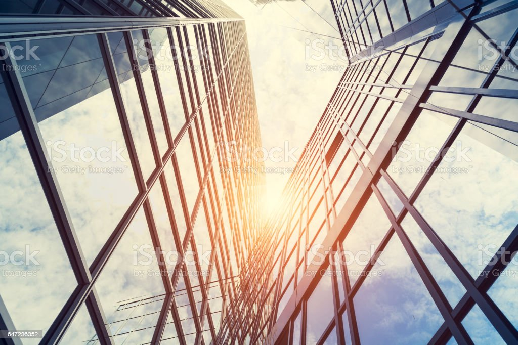 Modern architecture – double exposure stock photo