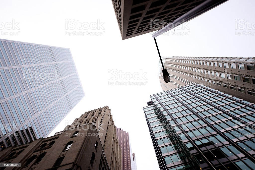 Modern architecture downtown in a large American city stock photo