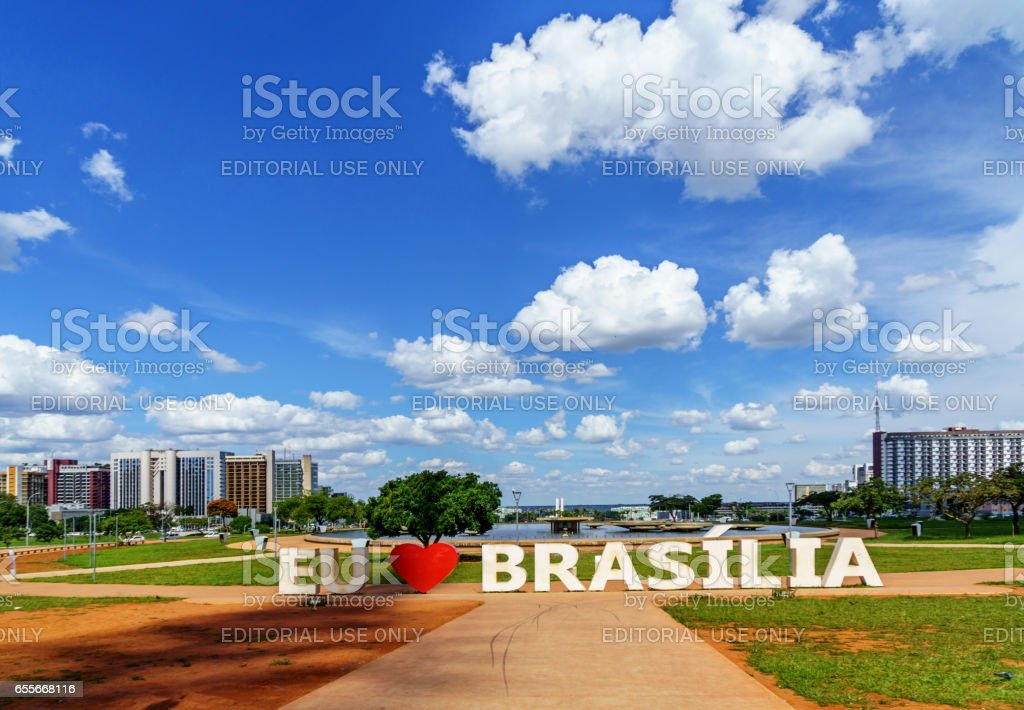 Modern architecture in downtown Brasilia stock photo