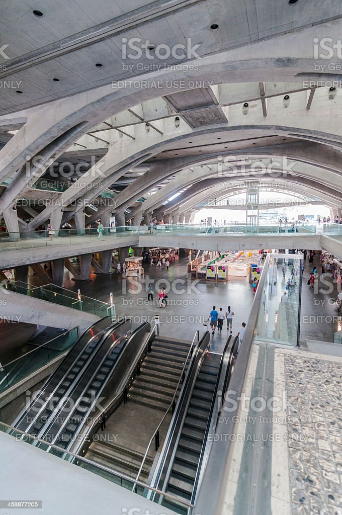 Modern architecture in the East intermodal station, Lisbon. royalty-free stock photo