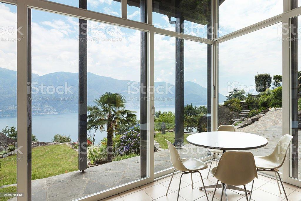 modern architecture; interior; veranda stock photo