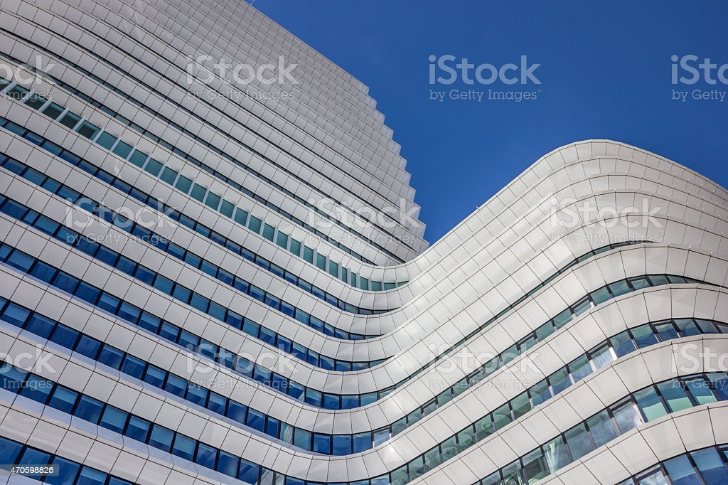 Modern architecture of a government building in Groningen stock photo