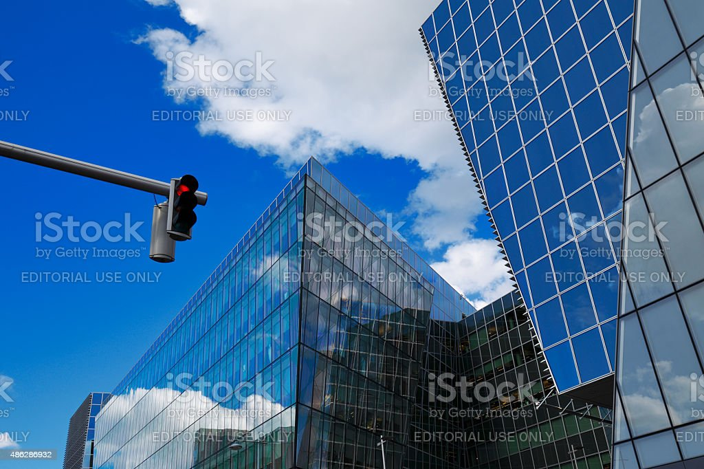 Modern architecture of Dublin Docklands area stock photo