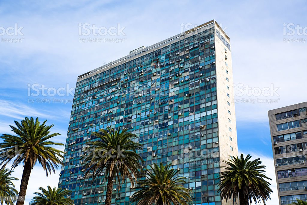 Modern Architecture on the Plaza Independencia in Montevideo stock photo