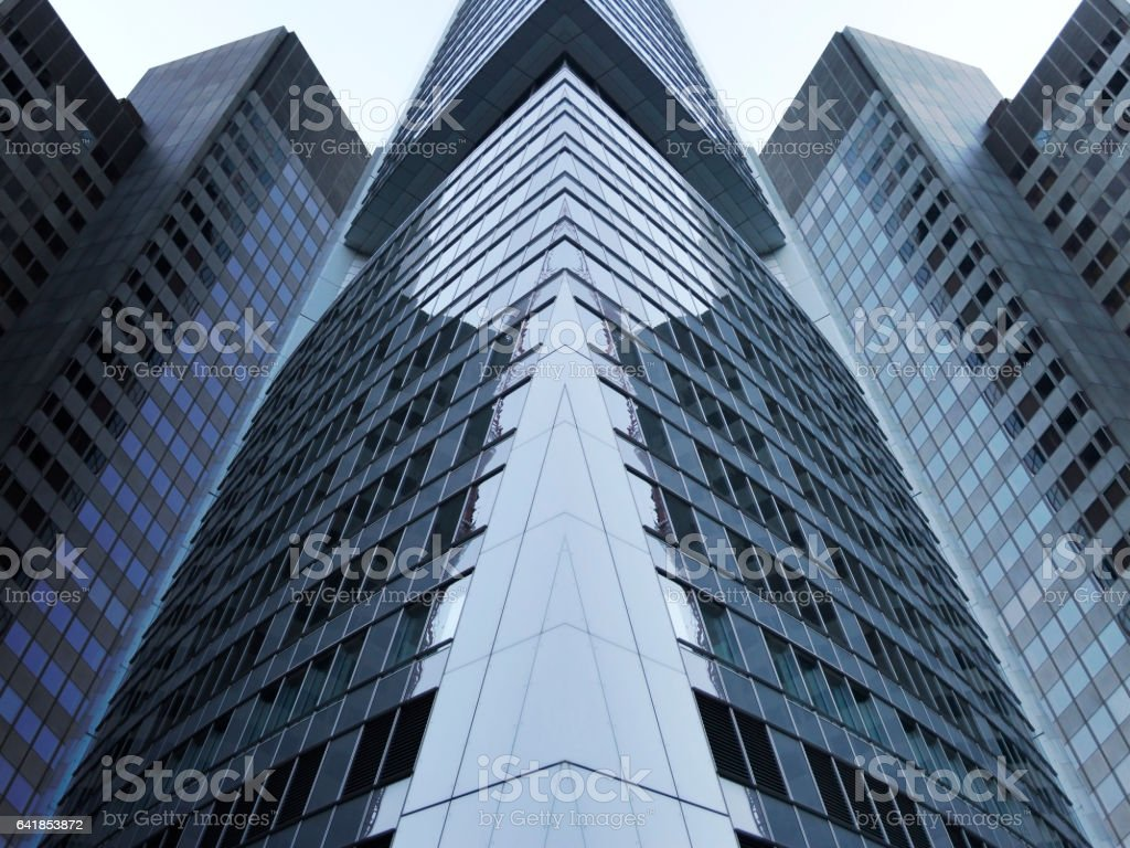 Modern architecture. Reworked photo of skyscrapers / multistory office buildings in downtown business district. stock photo