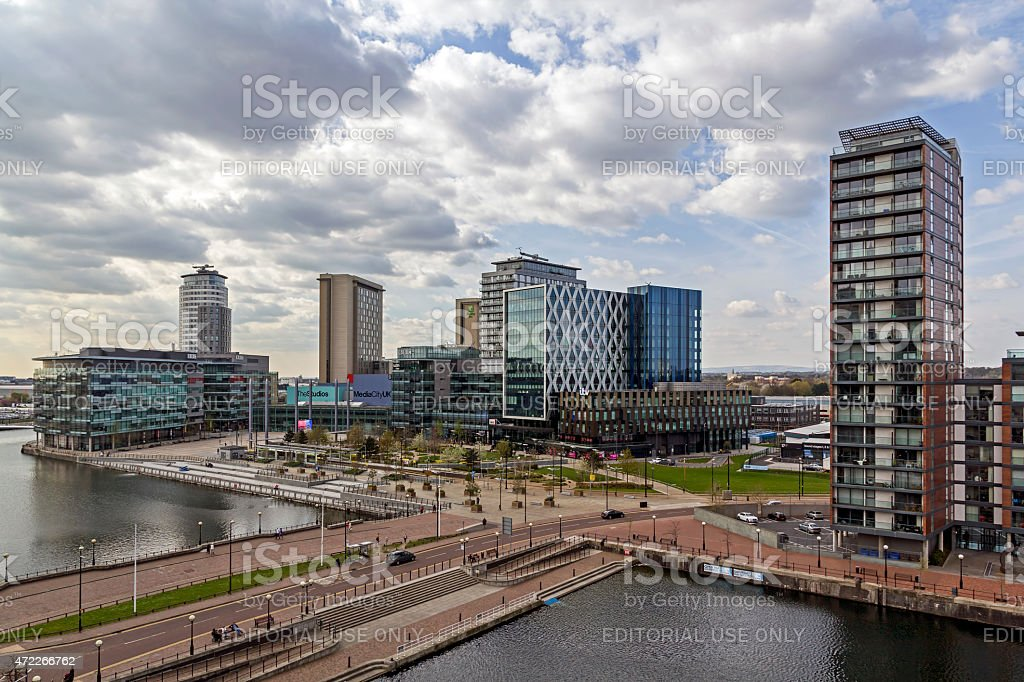 Modern Architecture Salford Quays Manchester stock photo