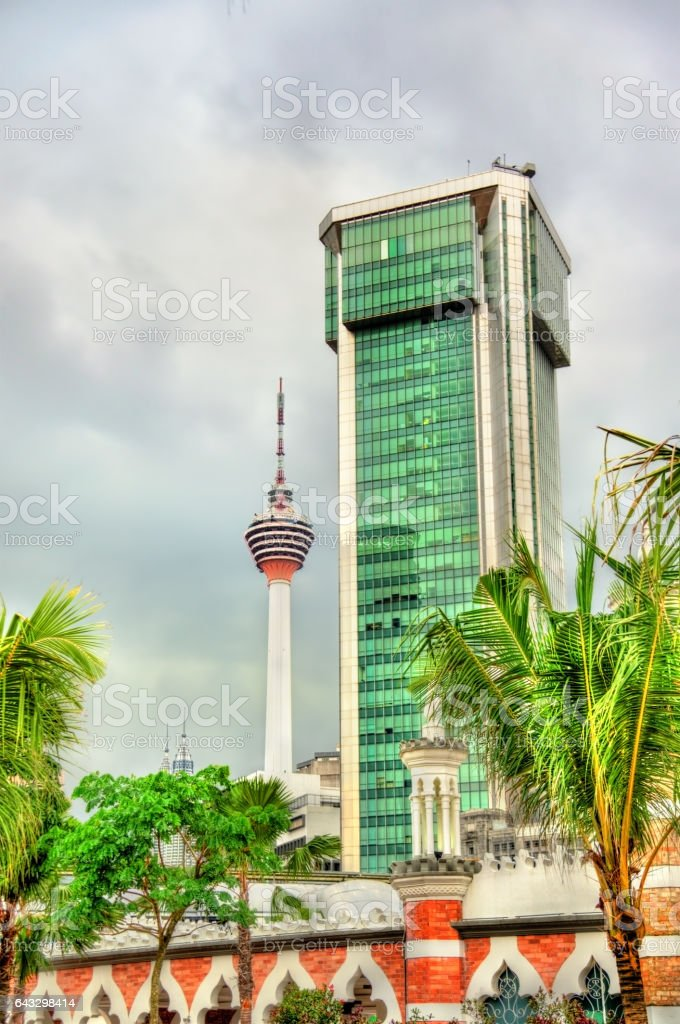 Modern architecture with the TV tower in Kuala Lumpur, Malaysia stock photo