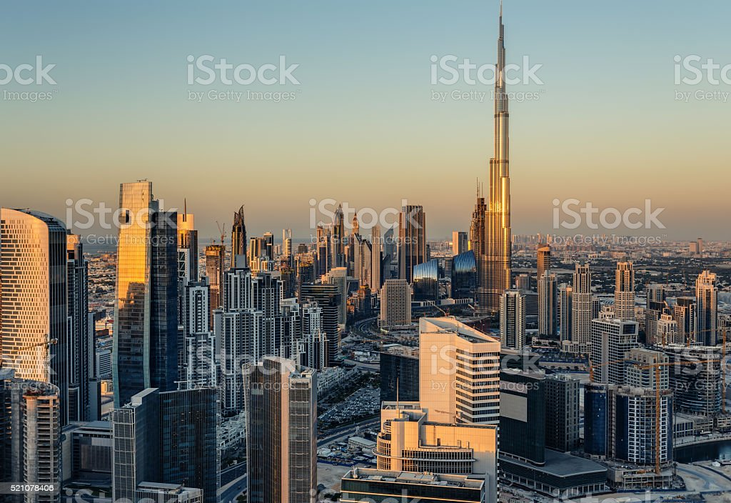Modern architecure of Dubai, UAE, at sunset. stock photo