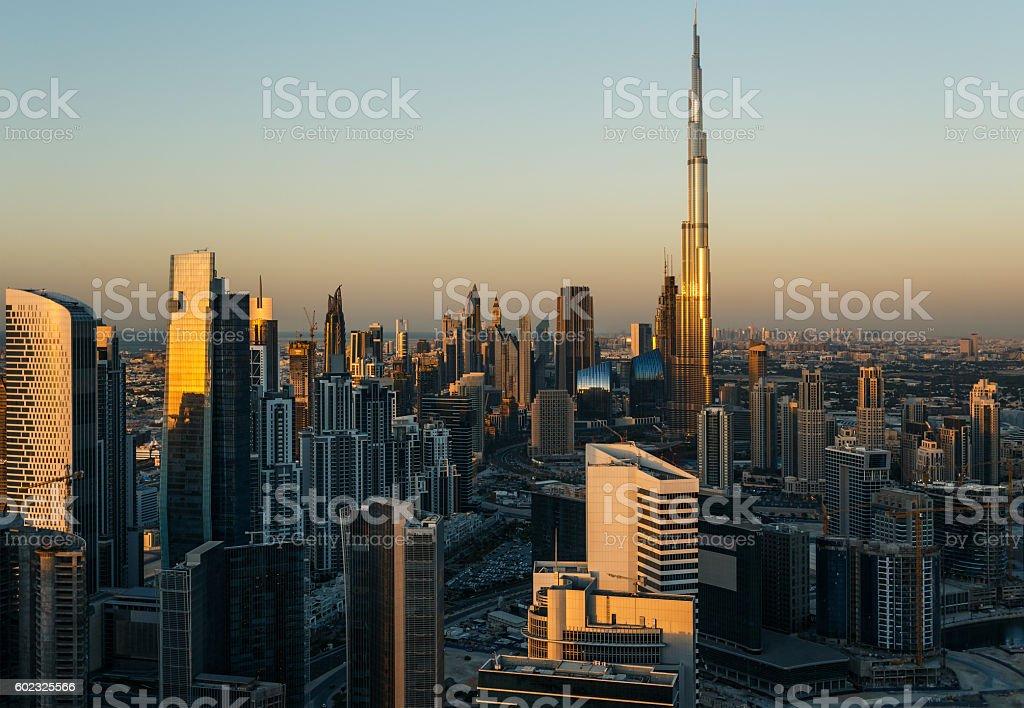 Modern architecure of Dubai, UAE, at sunset. stock photo