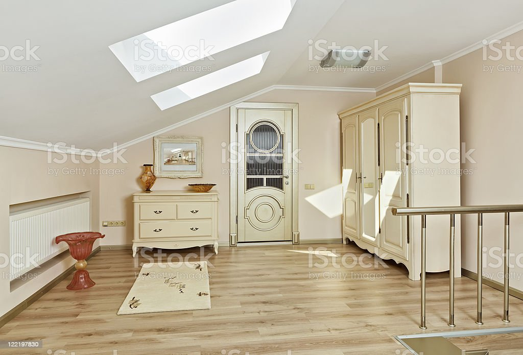 Modern art deco style loft room interior in light beige royalty-free stock photo