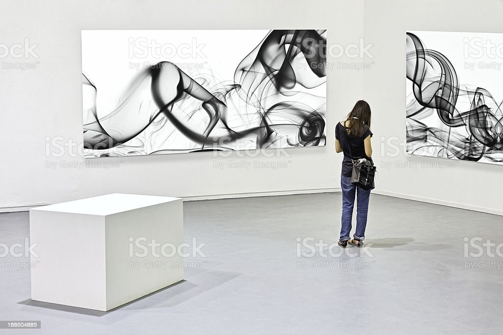 Modern art exhibition stock photo