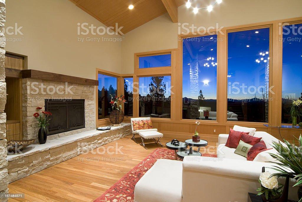 Modern Asian living room at sunset stock photo