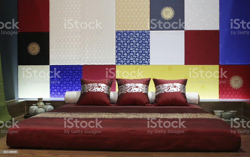 Modern Asian-style bedroom royalty-free stock photo