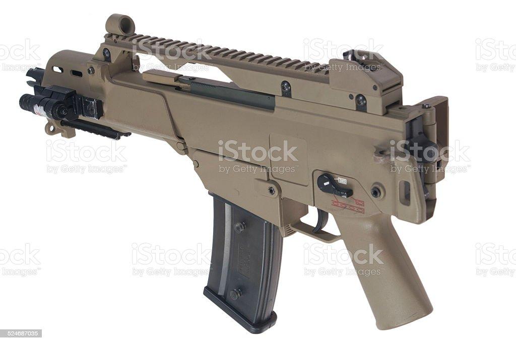 modern assault rifle isolated on white background stock photo