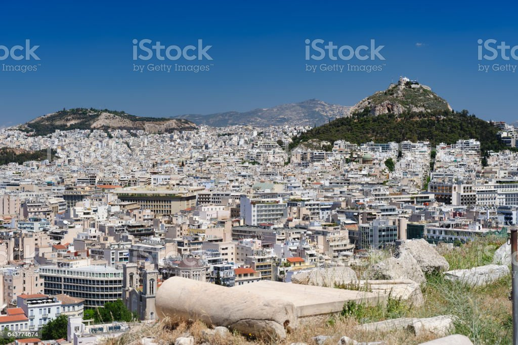 Modern Athens and Lycabettus hill stock photo
