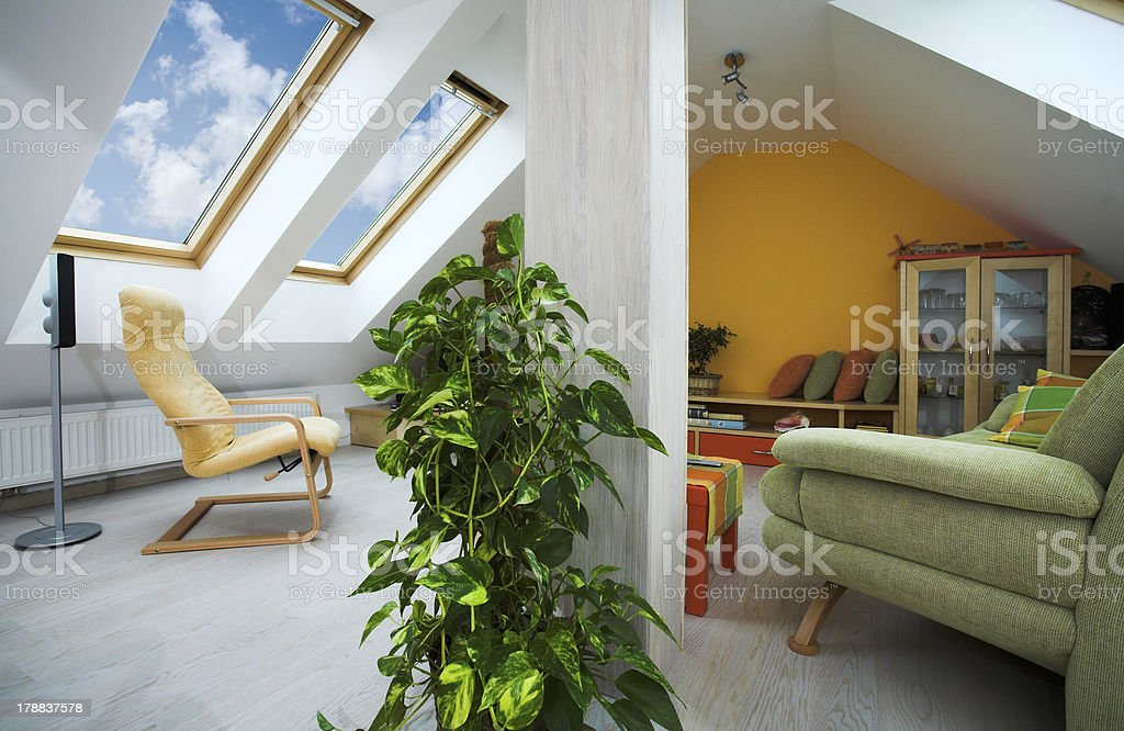 modern attic apartment with skylight stock photo