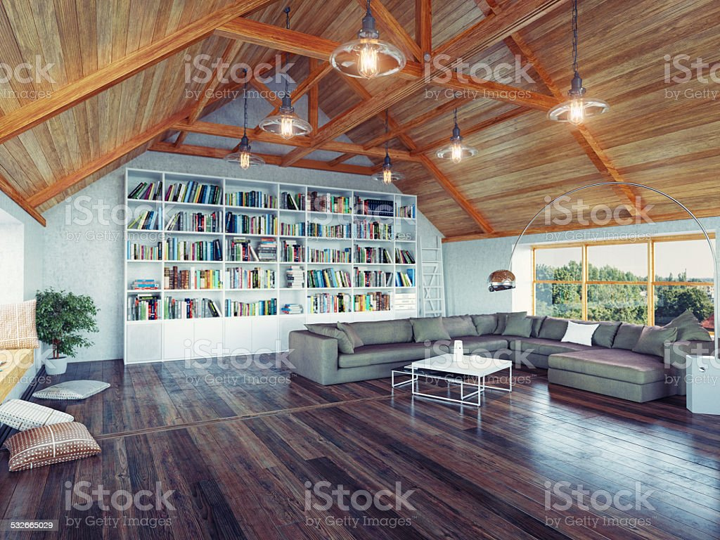 modern attic stock photo