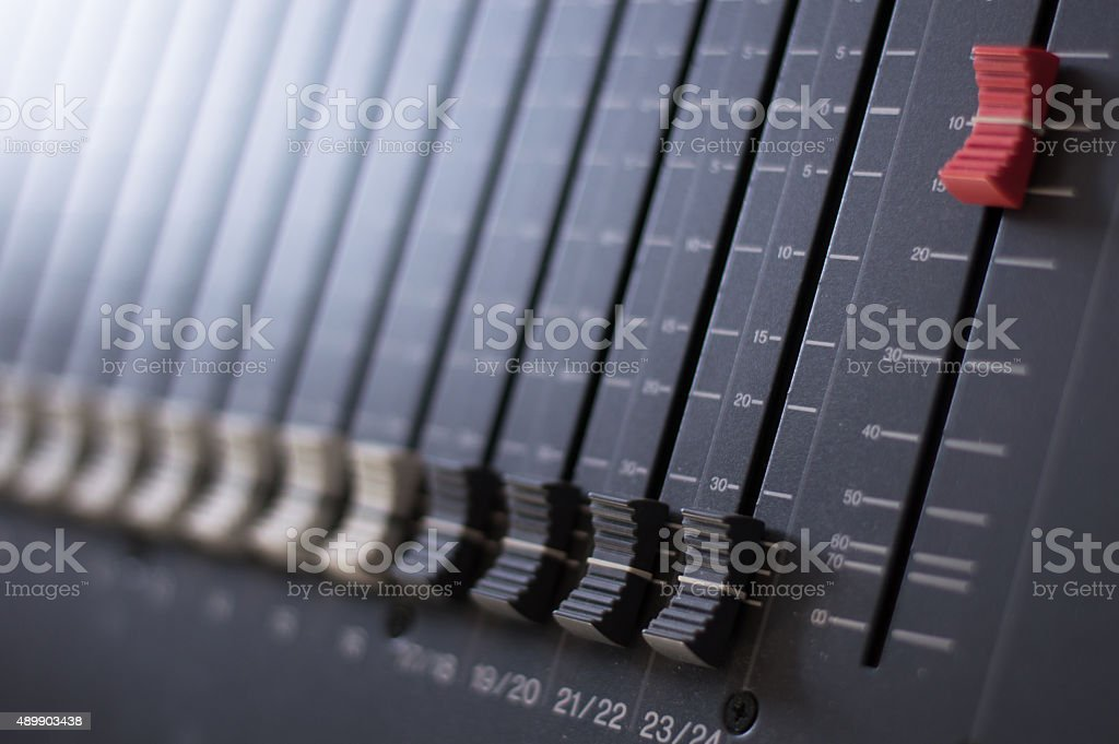 Modern audio mixing desk stock photo