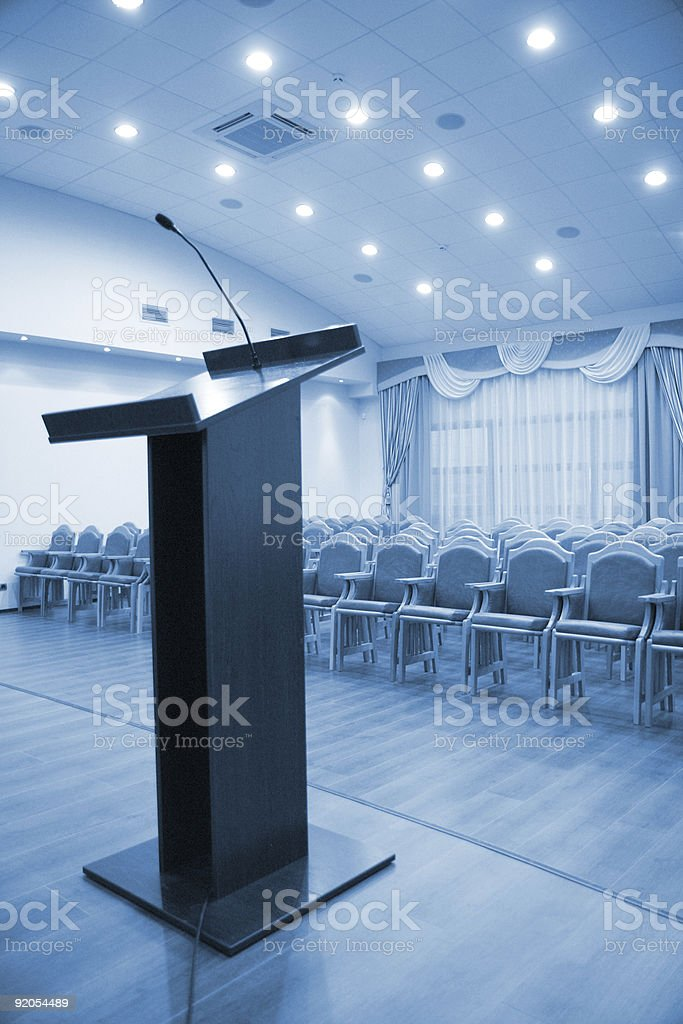 Modern auditorium hall with tribune royalty-free stock photo