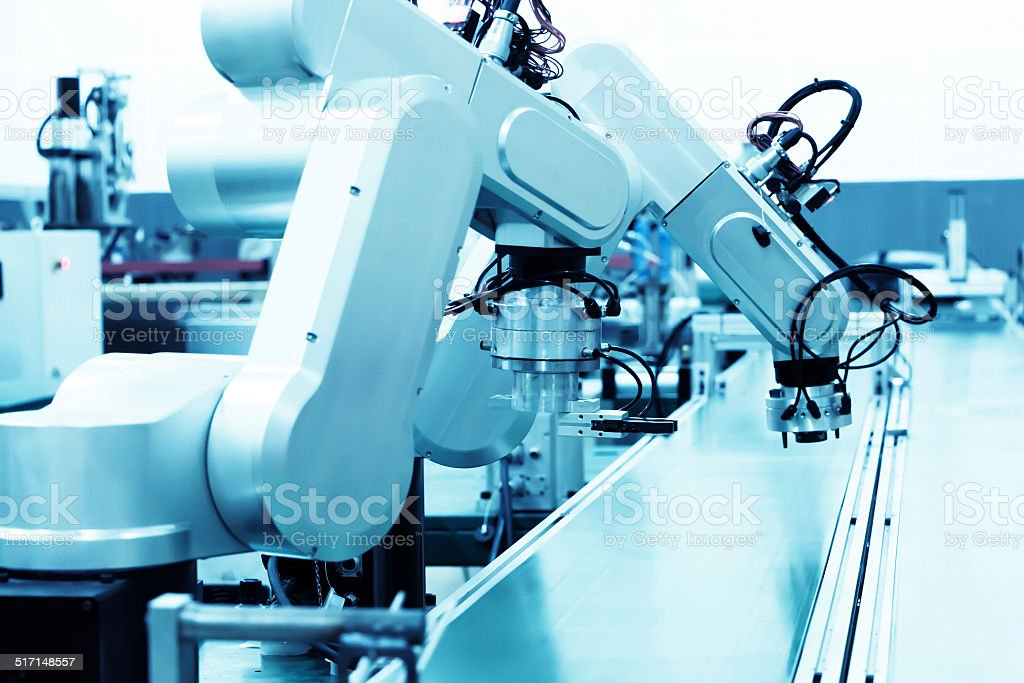 modern automatic robot assembly line in factory of heavy industry