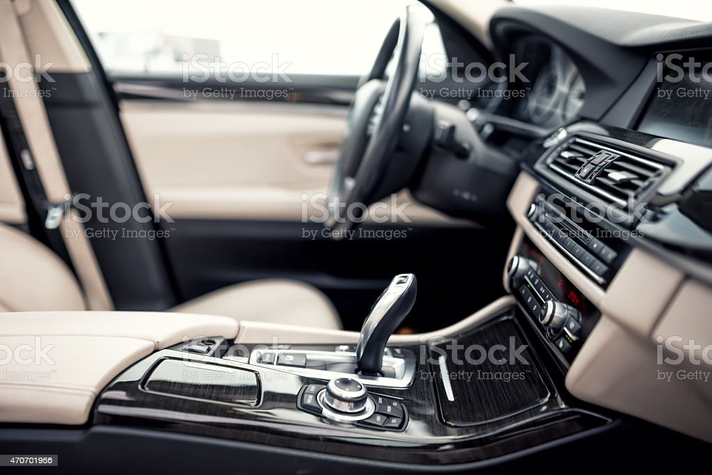 Modern Automatic transmission and gear stick, steering wheel and dashboard stock photo