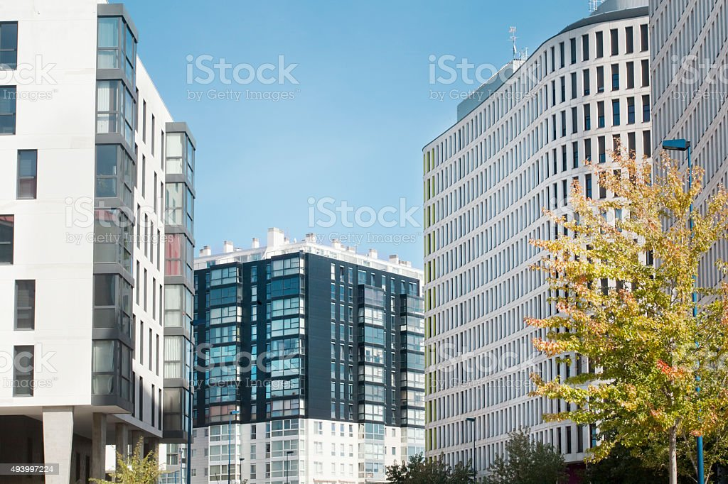 Modern avenue, buildings in a new city neighborhood. stock photo