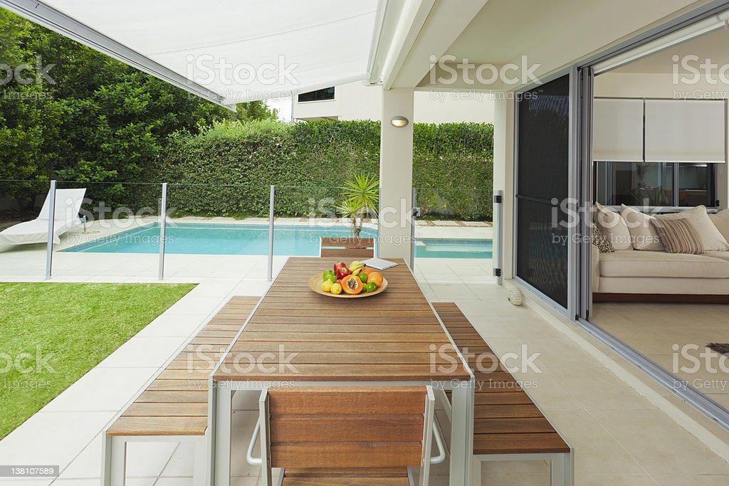 Modern backyard and living room stock photo