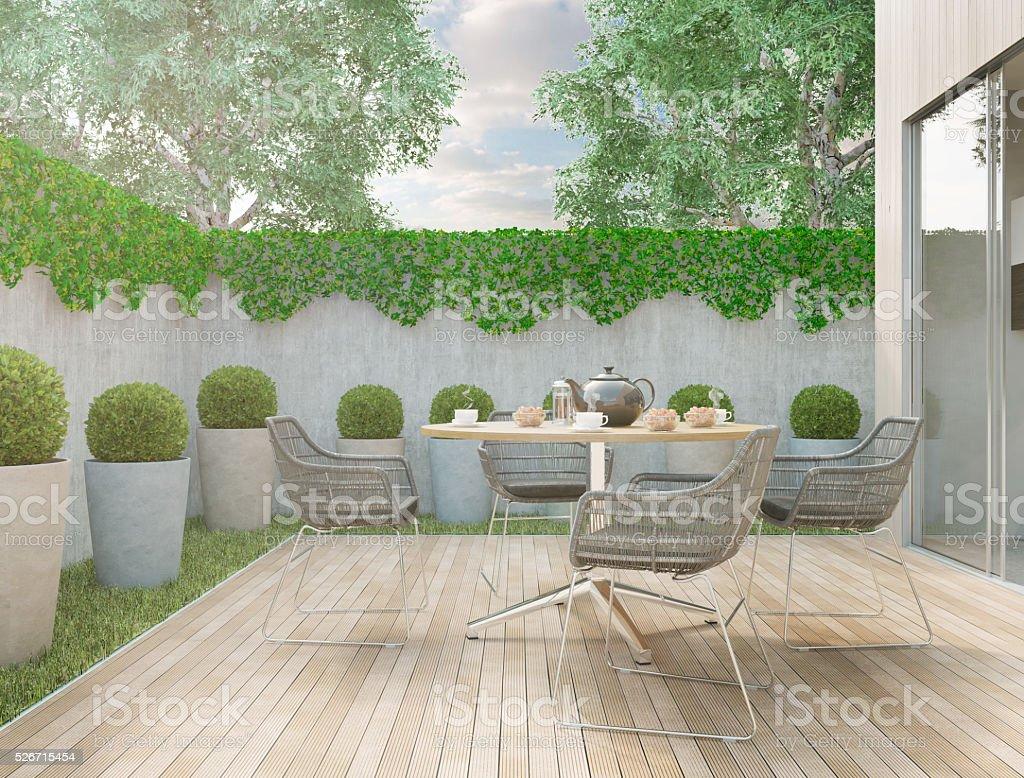 Modern backyard stock photo