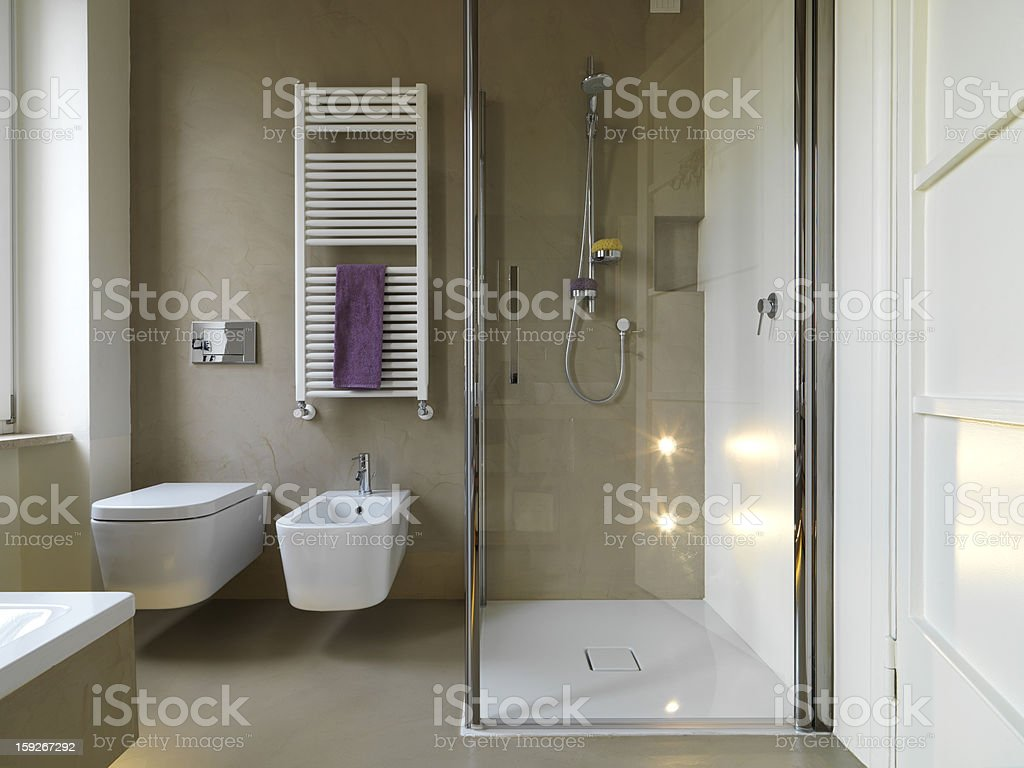 modern bahtroom with shower cubicle stock photo