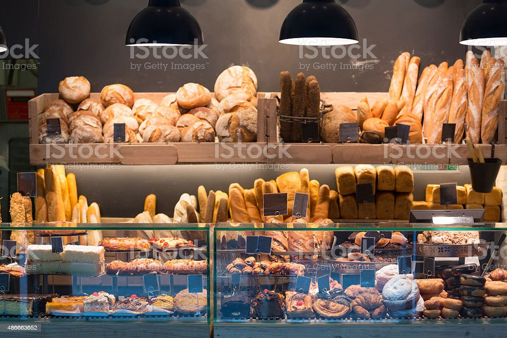 Modern bakery with assortment of bread stock photo
