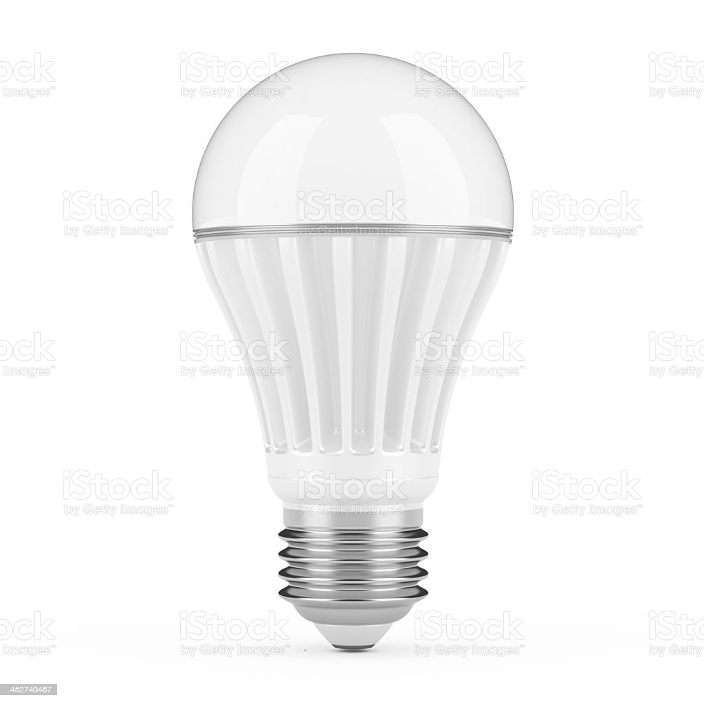 A modern balloon shaped LED light bulb stock photo